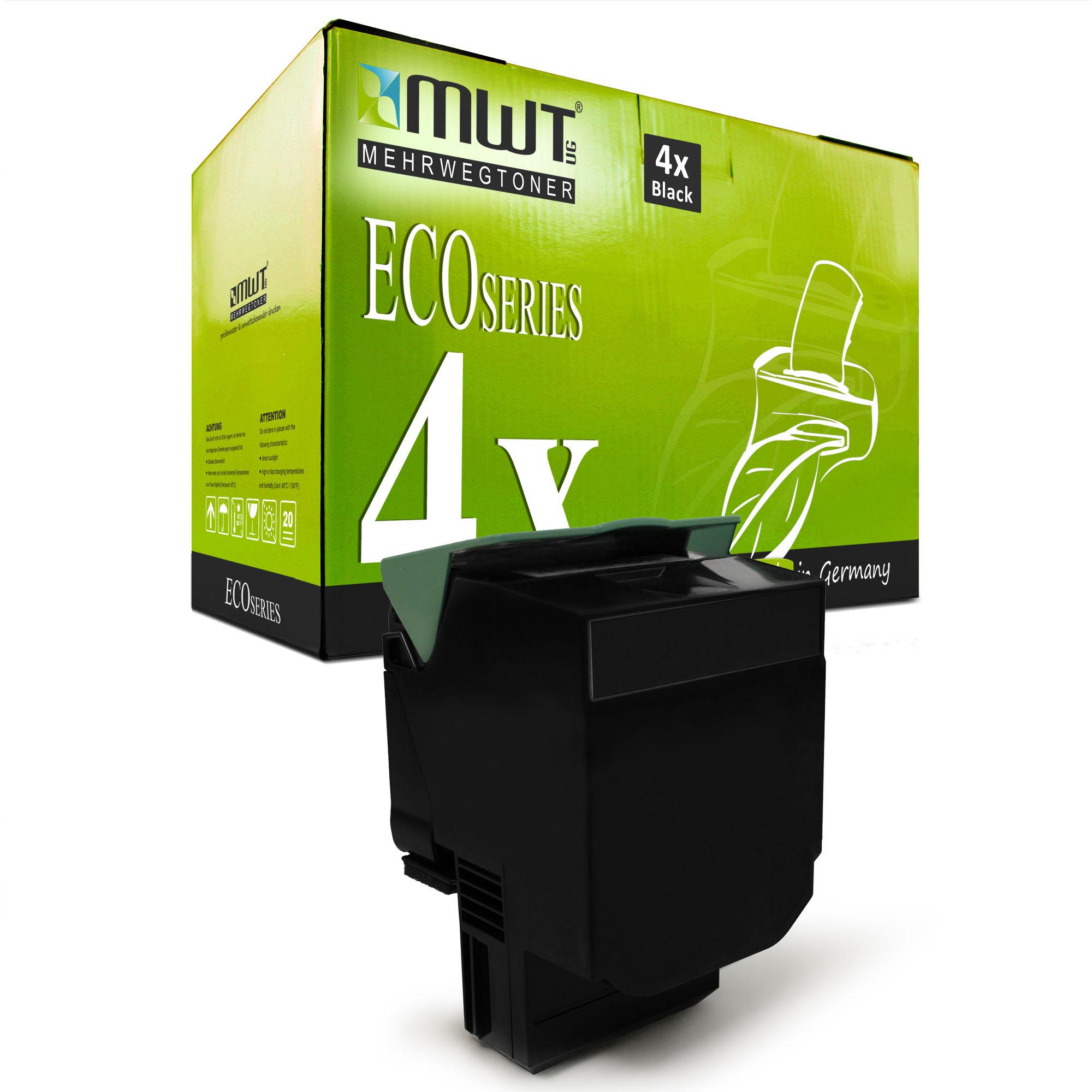 4x-Eco-Toner-Noir-XXL-Pour-LEXMARK-cs-310-n-cs-410-dn-cs-510-de-cs-510-dte